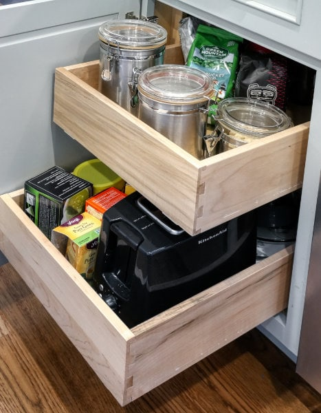 Rollouts in cabinet to easily access kitchen items