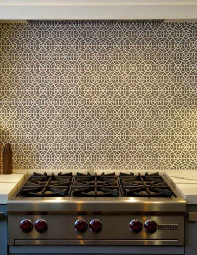 Art Tile Kitchen Backsplash for backsplash with dense geometric pattern