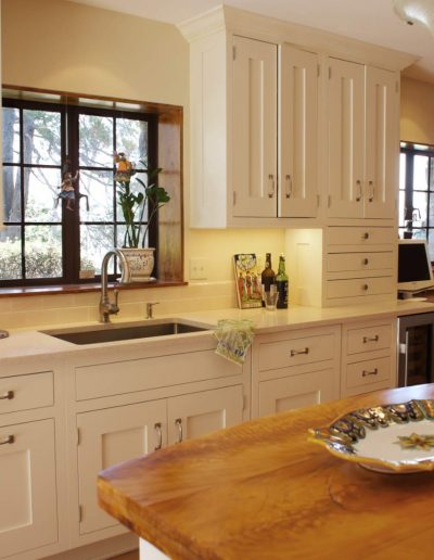 Creme Painted Kitchen Cabinets in a Tudor Home in Nyack NY