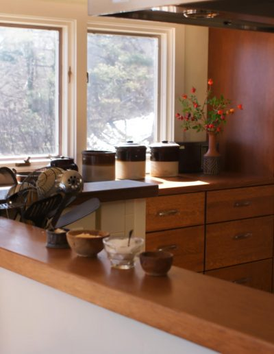 Rift Cut Oak Storage Cabinets complement Craftsman Furnishings in this Nyack Kitchen