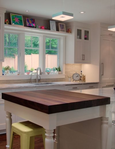 White Kitchen with Butcher Block by McManus Group, Nyack