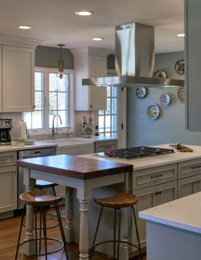 Kitchen with Calm Green and Light Tones Color Scheme