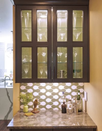 Kitchen Bar Area with Wine Glasses Display Cabinet in Westchester NY