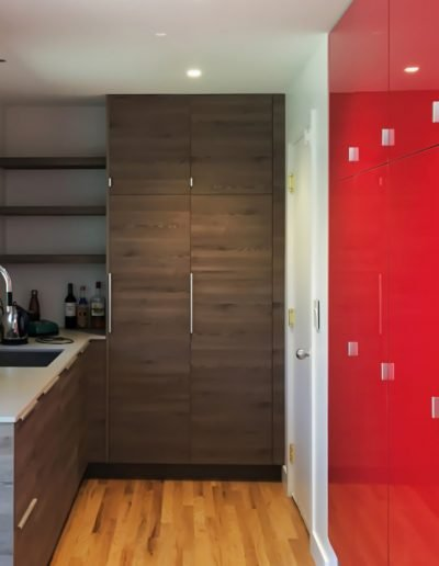 Mudroom with lockers for large family in Nyack NY